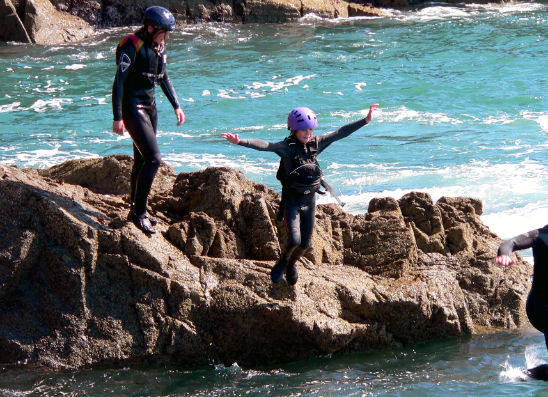 Coasteering on the Pembrokeshire coast in Wales