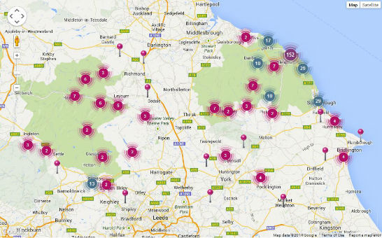 Map of holiday cottages in Yorkshire