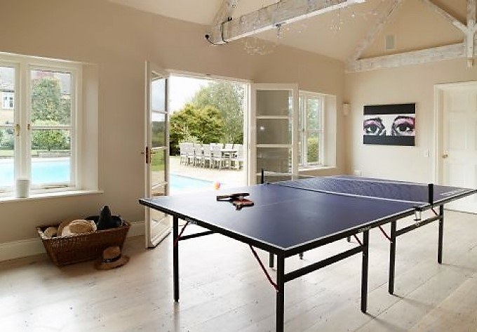 games room by a pool