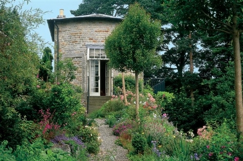 Archetypal cottage garden with hollyhocks, columbines and foxgloves?