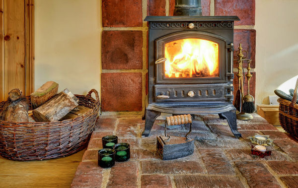Log burner at Gipping Barn Stonham Aspal Suffolk