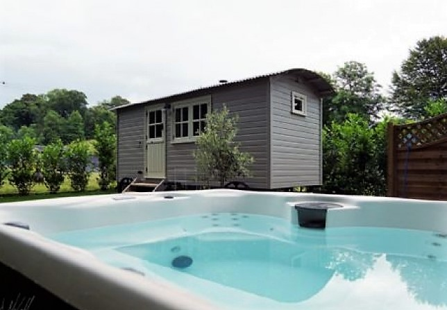 Shepherd's Hut in Longtown in Cumbria with hot tub