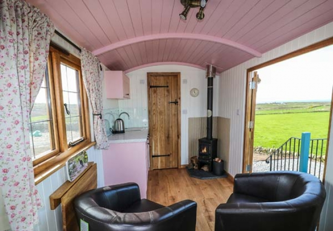 Interior of Shepherd's Hut on Anglesey in Wales