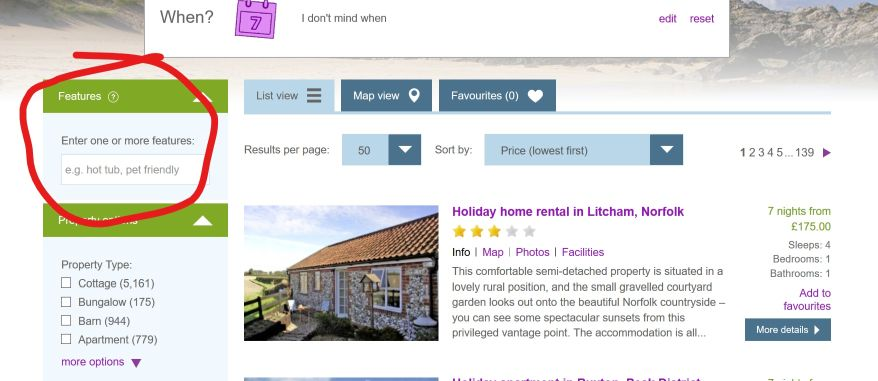 Features box on Holiday Cottage Compare search page