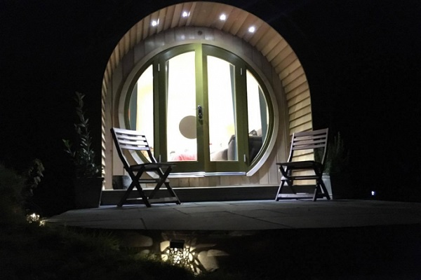 Camping pod night view