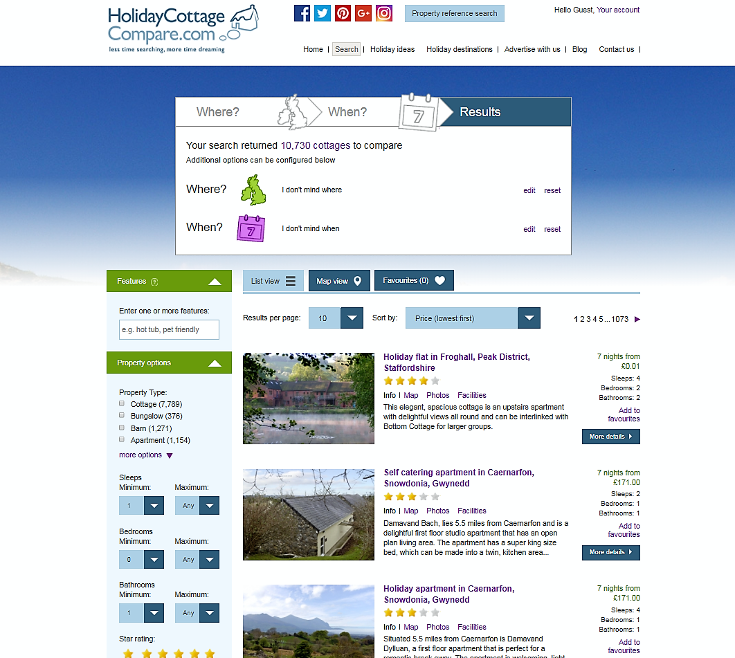 Holiday Cottage Compare home page for search