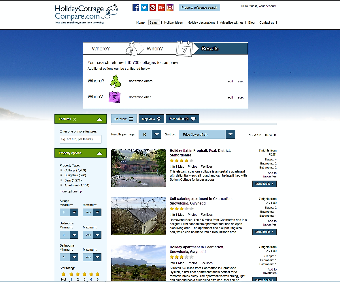 Holiday Cottage Compare home page