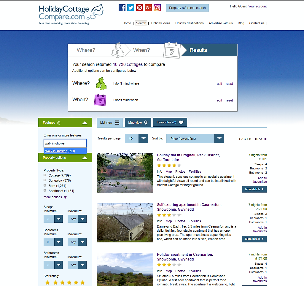 Holiday Cottage Compare home page with highlight