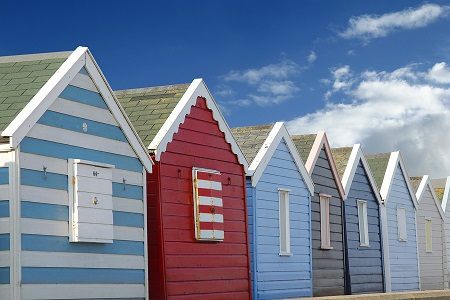 bcolourful beach huts